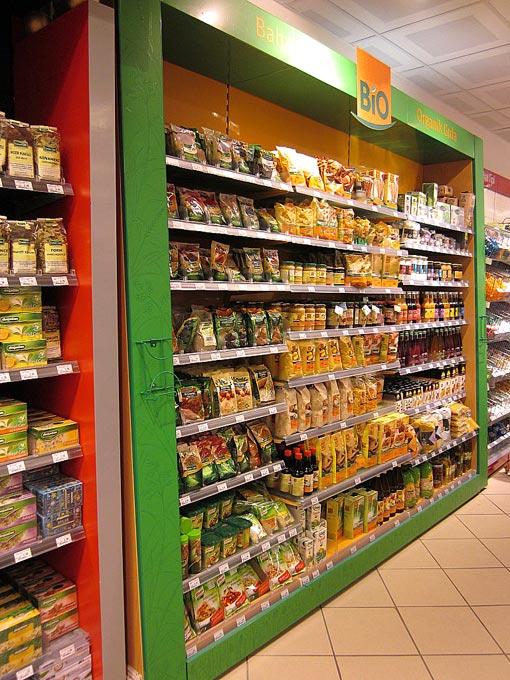 gondole pour produits alimentaires bio