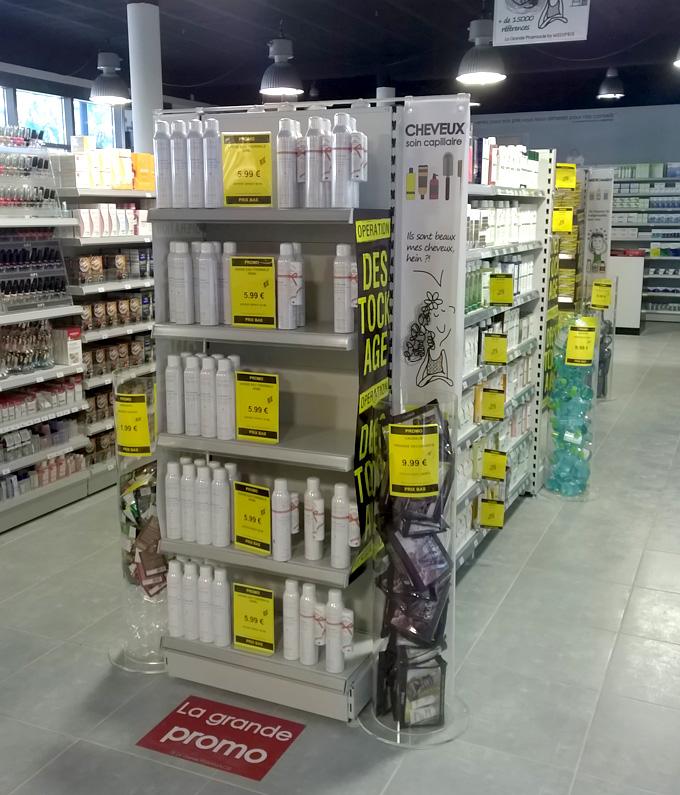Aménagement de pharmacie : tête de gondole