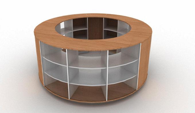 Mobilier d'agencement en bois : présentoir circulaire