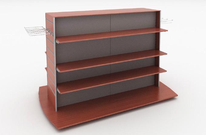 Mobilier d'agencement en bois : présentoir avec tablettes