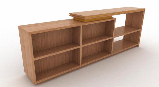 Mobilier d'agencement en bois : meuble avec étagères