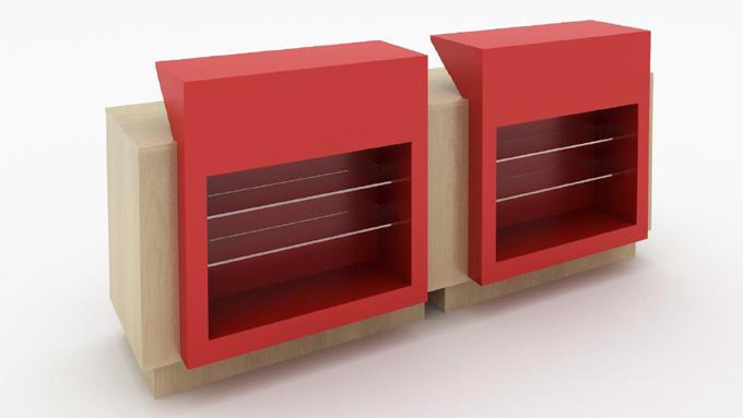 Mobilier d'agencement en bois : présentoir avec étagères en verre