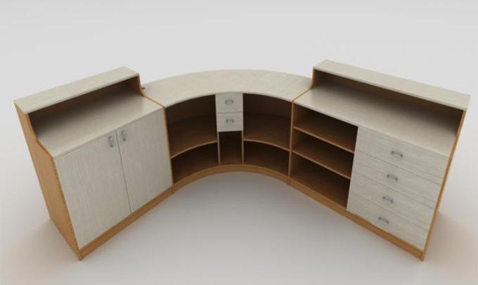 mobilier d'agencement en bois : accueil courbe avec rangements