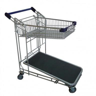 Chariot magasin panier haut et plateau bois