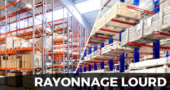 Rayonnage lourd pour stockage avec chariot